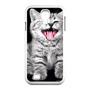 Nuktoe Cat Yawning Samsung Galaxy S4 Cases Hardshell for Girls, Phone Case for Samsung Galaxy S4 M919 [White]