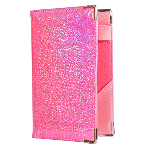 (Of Course Holographic Glitter Server Book for Waitress and Waiter | Premium Organizer Wallet with 10 Money Pockets, Zipper Pocket and Original 2 Tone Interior | Cute Fits Aprons (Power Pink))