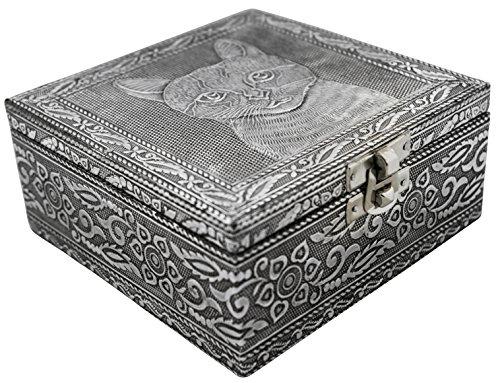 Elegant Jewelry Box (VGI Elegant Jewelry Box with Hammered Metal Cladding and Soft Fabric Interior (Cat, Silver Finish))