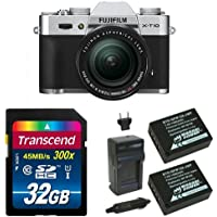 Fujifilm X-T10 Silver Mirrorless Digital Camera Kit with XF 18-55mm F2.8-4.0 R LM OIS Lens Deluxe Bundle (Old Model)