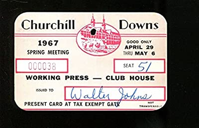 1967 Kentucky Derby Churchill Downs Press Pass Spring Racing Season Ex 23266