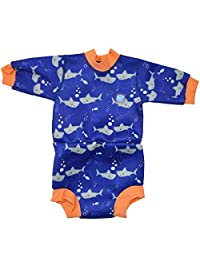 Splash About Baby Happy Nappy Wetsuit- 2 in 1 Baby Wetsuit and Diaper (Large 6-14 Months, Shark Orange)