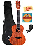 Luna Malu Mahogany Maluhia (Peace) Concert Acoustic-Electric Ukulele Bundle with Gig Bag, Tuner, Austin Bazaar Instructional DVD, and Polishing Cloth