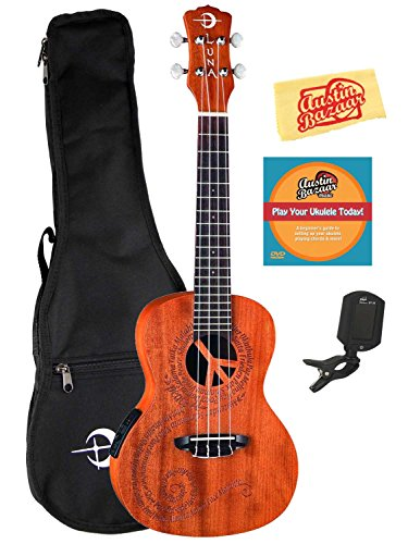 Luna Malu Mahogany Maluhia (Peace) Concert Acoustic-Electric Ukulele Bundle with Gig Bag, Tuner, Austin Bazaar Instructional DVD, and Polishing Cloth by Luna Guitars