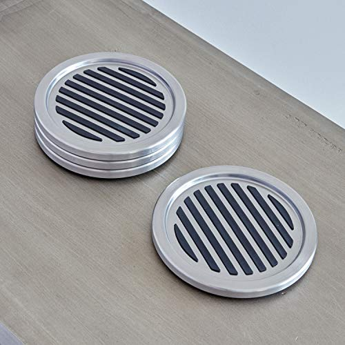 Large Product Image of InterDesign Forma Drink Coasters - Set of 4, Brushed Stainless Steel/Black