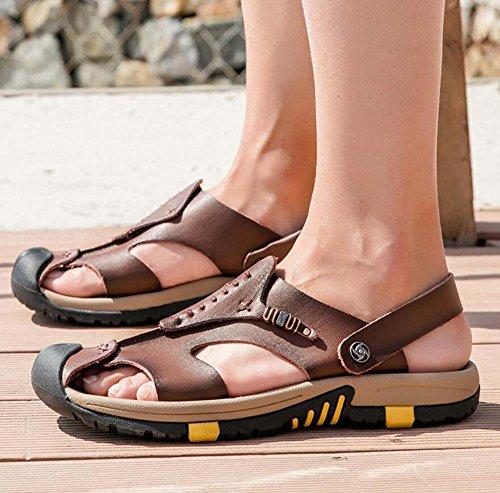 spessa con Ydxwan 38 pantofola pelle sandali antiscivolo casual traspirante britannica scarpe pelle in suola estate traspiranti Brown Dark Baotou da in uomo taglie Sandali 45 6nr6qTFa