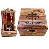 First Communion Box - Rosary Box - Bethlehem Olive wood (Jerusalem Cross - Laser)