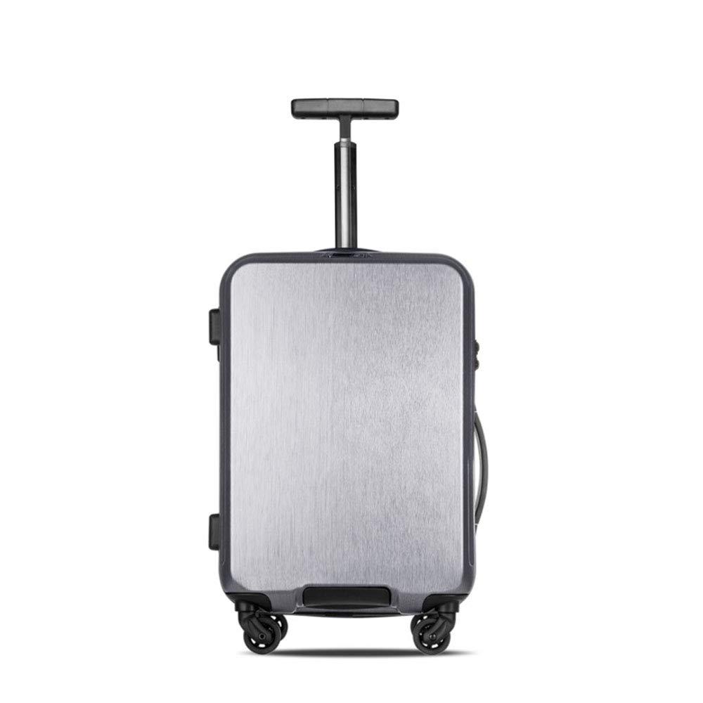 ローリング荷物用スピナーホイール スーツケーストロリーメンズABS + PCトラベルバッグトランクスチューデントパスワードボックス女性キャリーオンラゲッジ B07LFFWYNY Silver