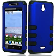 LF Hybrid Dual layer RibCase Cover, Lf Stylus Pen and Wiper For TracFone, StraightTalk, Net 10 Huawei Ascend Plus H881C (Black / Blue)