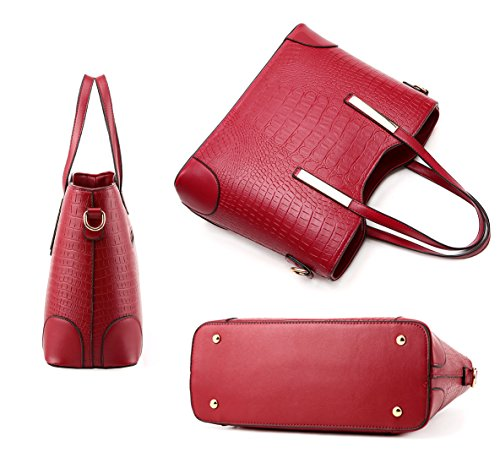 Pcs Shoulder Wine Hand Wine Bag Leather Handbags Set 2 Purse Bag Essvita Women Handbags And Red Tote Pu Red Leather Fashion 54pPq