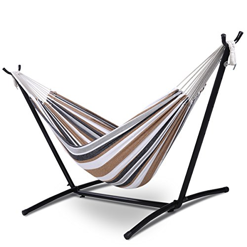 Giantex Double Hammock with Space Saving Steel Stand W/Portable Carry Bag Powerful Capacity
