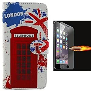 Mini - Red Gate Design PU Leather Full Body Case with Explosion-Proof Glass Film for iPhone 6 Plus