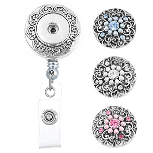 Souarts Retractable Badge Reel Clip On Card Holder with 3pcs Round Flower DIY Snaps Buttons Charms Retractable Round Badge Reel