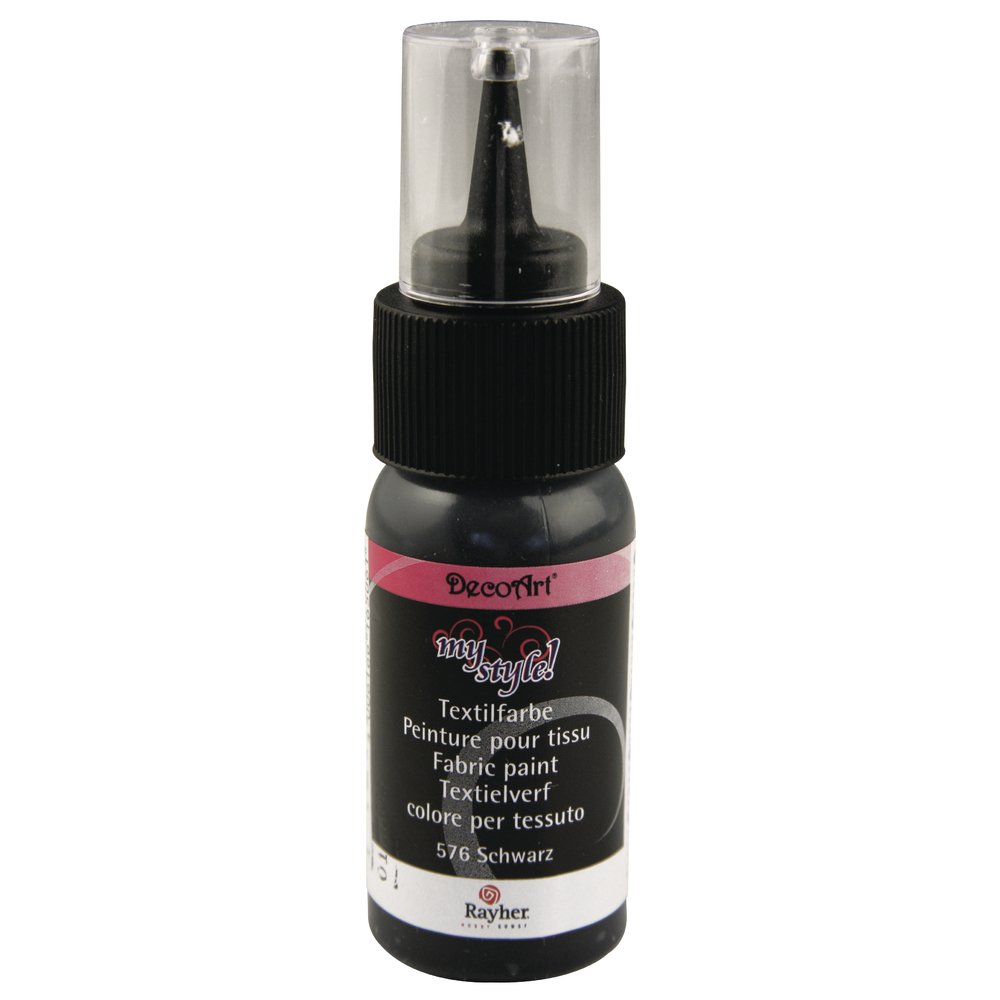 Rayher 38481576 My Style colore per tessuti, in blister, bottiglia 29 ml, Nero bottiglia 29ml Rayher Hobby