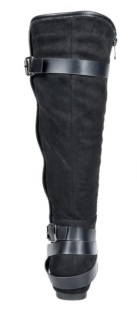Wide-Calf DREAM PAIRS Womens Knee High Low Hidden Wedge Boots