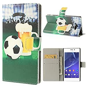 JUJEO Football Beer Leather Card Holder Cover Stand for Sony Xperia M2 D2306/M2 Dual D2302 - Non-Retail Packaging - Multi Color