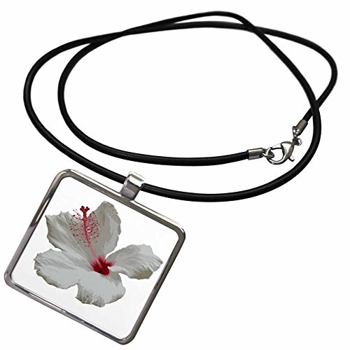 3dRose Taiche - Photography - Hibiscus - Pure White Hibiscus Tropical Flower - Necklace With Rectangle Pendant (ncl_273642_1)