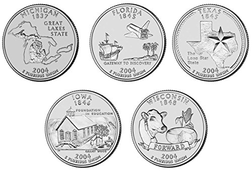 2004 P, D BU Statehood Quarters - 10 coin Set Uncirculated