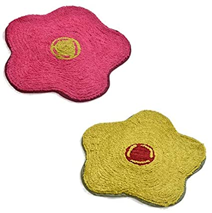 Yellow Weaves� Microfiber Floral Door mat (Set of 2) - 19 x 19 inches, Multicolor