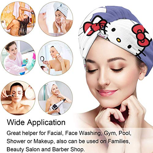 Hair Towel Wrap Turban Hello Kitty Party Microfiber Drying Bath Shower Head Towel With Button, Dry Hair Hat