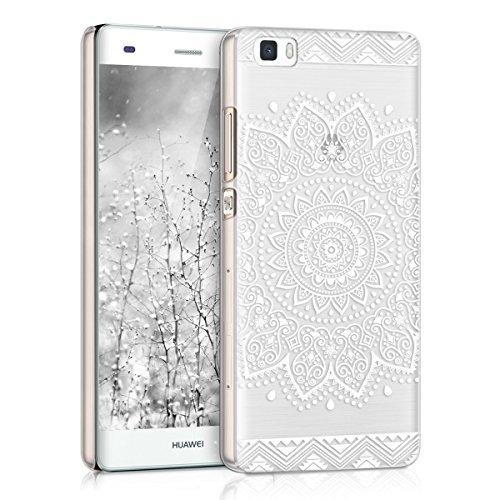 kwmobile Crystal Case Hülle für Huawei P8 Lite mit Blume Design - transparente Schutzhülle Cover klar in Weiß Transparent