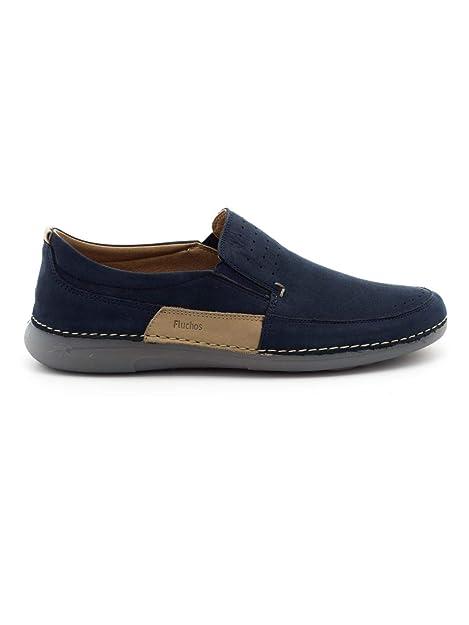 Mocasines Fluchos F0509 De Piel Azules para Hombre: Amazon.es: Zapatos y complementos