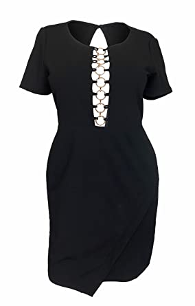 fd27d496fb060 eVogues Women s Sexy Cutout Fit and Flare Dress Black at Amazon Women s  Clothing store
