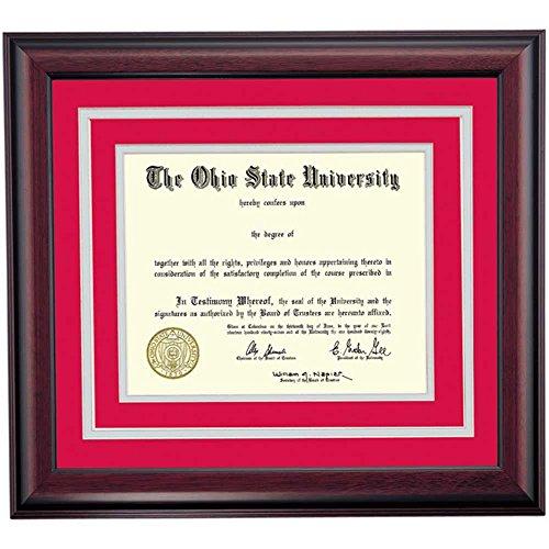 (Campus Linens Ohio State Buckeyes Diploma Frame Scarlet Gray Matting )