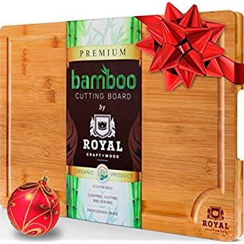 EXTRA LARGE Organic Bamboo Cutting Board with Juice Groove - Best Kitchen Chopping Board for Meat (Butcher Block) Cheese and Vegetables   Anti Microbial Heavy Duty Serving Tray w/ Handles - 18 x 12