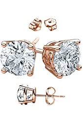 Unisex Rose Gold Overlay 925 Sterling Silver Round Cubic Zirconia Square White Cz Stud Earrings