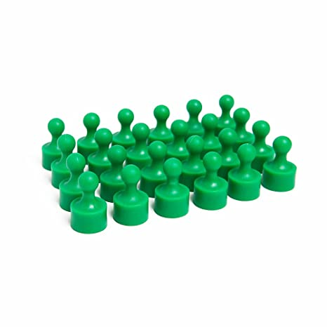 24 Bright Green Magnetic Pins, Pawn Style - Perfect for Fun Fridge Magnets, Whiteboards, Cabinets, Photo Magnets For Refrigerator, and More!