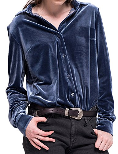 IRISIE Women Button Down Boyfriend Vintage Velvet Long Sleeve Shirt(XXL,Blue) ()
