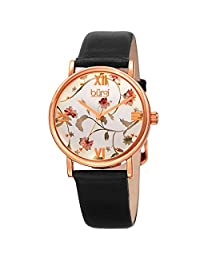 Burgi Women's BUR186BK Floral Print Rose Gold & Black Leather Strap Watch