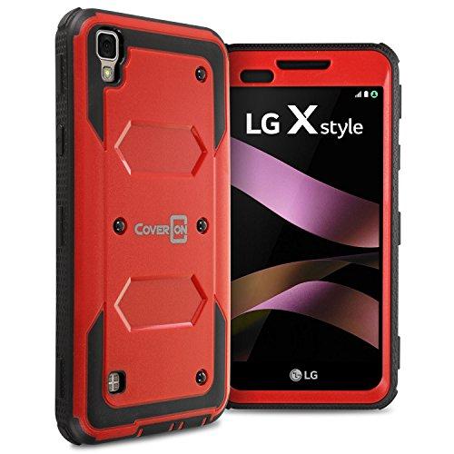 LG Tribute HD Case, LG X Style Case, CoverON [Tank Series] Tough Hybrid Hard Armor Protective Phone Cover Case For LG Tribute HD / X Style - Red