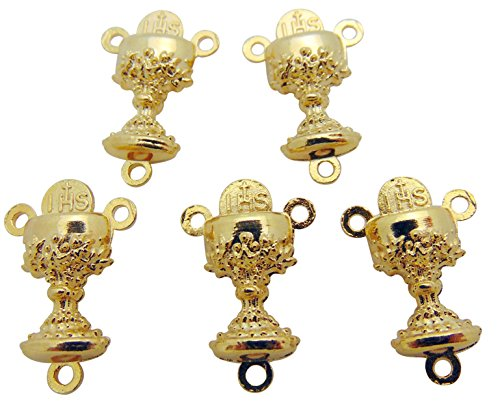 Catholic First Communion Rosary Centerpiece Lot Gold Tone Metal From Italy, Set of 5 (First Communion Centerpieces)
