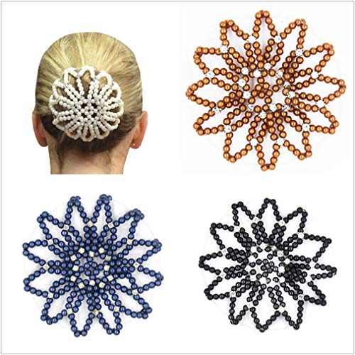SUSULU 4pcs Handmade Elastic Crochet Mesh Bun Cover with Rhinestone Bun Holder for Ballet Dance Skating Sports and Daily Working Hair Accessories