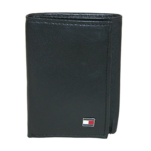 Tommy Hilfiger Men's Genuine Leather Oxford Slim Trifold Wallet (Black) - Oxford Valet
