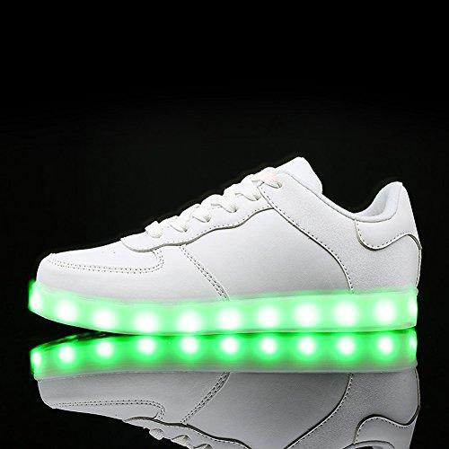 KALEIDO ShinyNight USB Lade 11 Farben LED Leuchten Schuhe Mode Turnschuhe Sportschuhe Für Herren Frauen Mädchen Jungen W-weiß