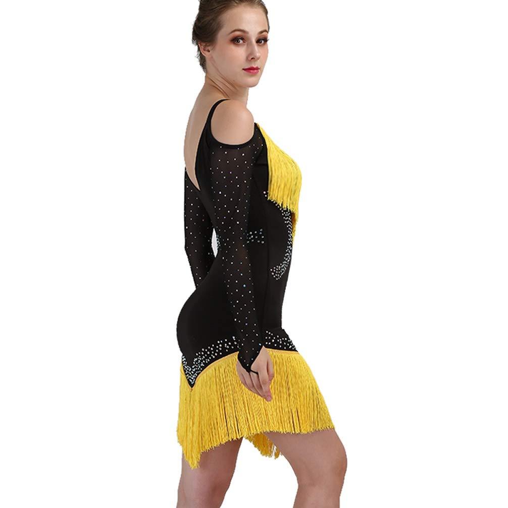 MoLiYanZi MoLiYanZi MoLiYanZi Quaste Latin Dance Kostüm für Frauen Leistung Tanzabnutzung Schulterfreie Schulter Lateinischer Tanz Wettbewerb Kleid EIN Stück, XL B07KSB4DFD Bekleidung Geeignet für Farbe 5e0574