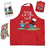 J & M Home Fashions 4-Piece BBQ King of The Grill Kitchen Towel Set