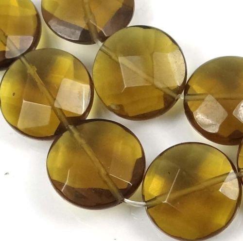 - 12 Pcs of Dark Lemon Glass Quartz Faceted Coin Disc Beads