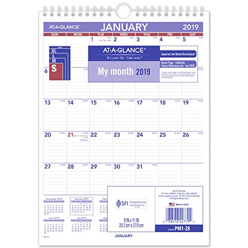 AT-A-GLANCE 2019 Monthly Wall Calendar, 8