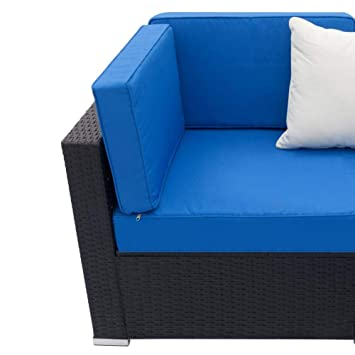 Amazon.com: Fully Equipped Woven Rattan Blue and Black Sofa ...
