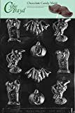 Cybrtrayd Life of the Party H004 Halloween Assorted with Bat Chocolate Candy Mold in Sealed Protective Poly Bag Imprinted with Copyrighted Cybrtrayd Molding Instructions