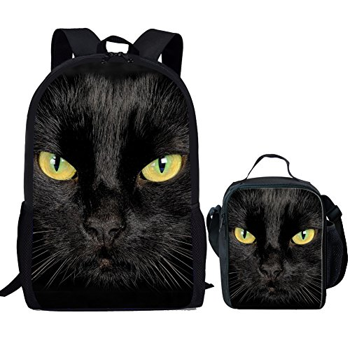 Showudesigns Black Cat School Book Bag Backpack and Lunch Box for Kids Girls Boys