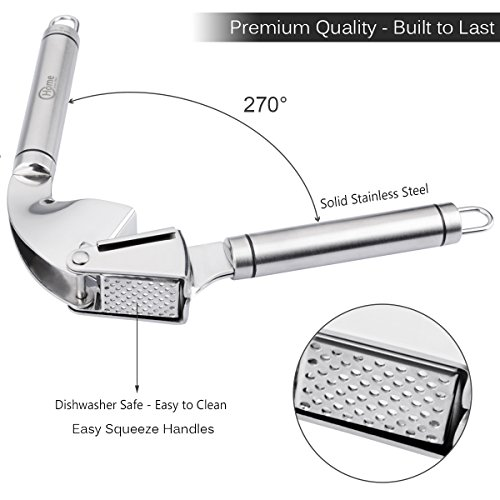 Professional Garlic Press - Stainless Steel Kitchen Utensil Includes Clove Peeler and Cleaning Brush - Best Choice to Mince & Crush Cloves and Ginger