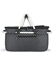 Eaglemate Foldable Outdoor Picnic Insulated Cooler Basket Storage Tote (Black/White DOTS)