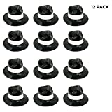 Black Plastic with White Band Gangster Hat Fedoras 12 Pack