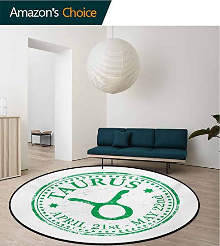(RUGSMAT Zodiac Taurus Round Rug,Grunge Looking Graphic Rubber Stamp Design Vintage Stars and Sign Carpet Door Pad for Bedroom/Living Room/Balcony/Kitchen Mat,Diameter-47 Inch Fern Green and White)