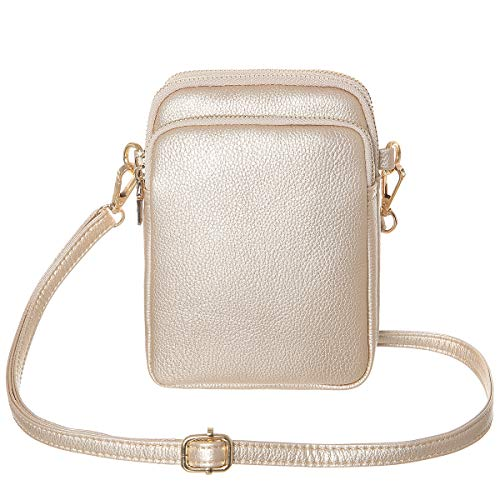 HAIDEXI Lightweight Nylon Small Purses or leather Small Crossbody bag Cell Phone Purses Wallet for Women (Leather-Gold)